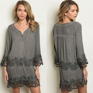 Mineral Washed Embroidered Dress